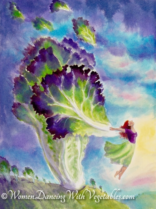 """Lettuce"" by Robin Maynard-Dobbs 9""x 12"" Silk dye on watercolor paper © 2018 Robin Maynard-Dobbs"
