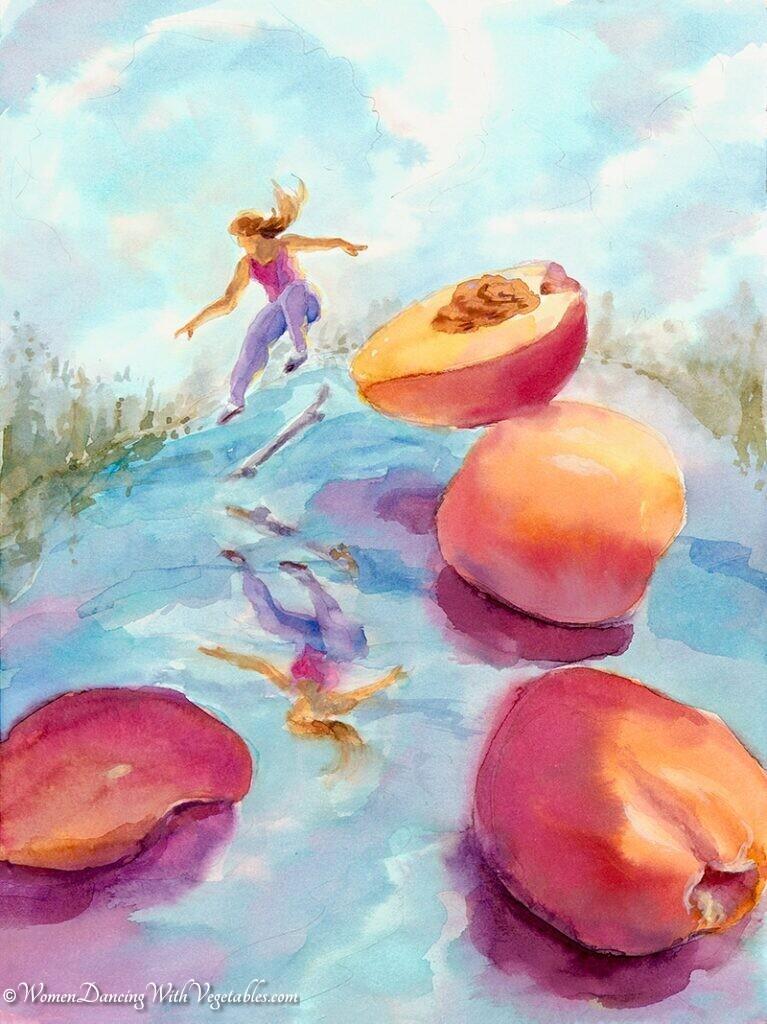 """Peaches"" by Robin Maynard-Dobbs 9""x 12"" Silk dye on watercolor paper © 2018 Robin Maynard-Dobbs"