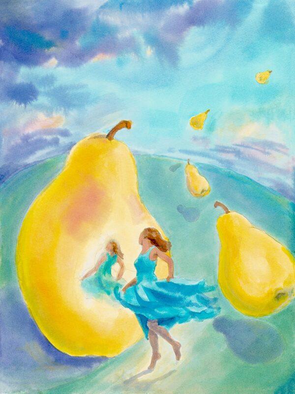 """Pears"" by Robin Maynard-Dobbs 9""x 12"" Silk dye on watercolor paper © 2018 Robin Maynard-Dobbs"