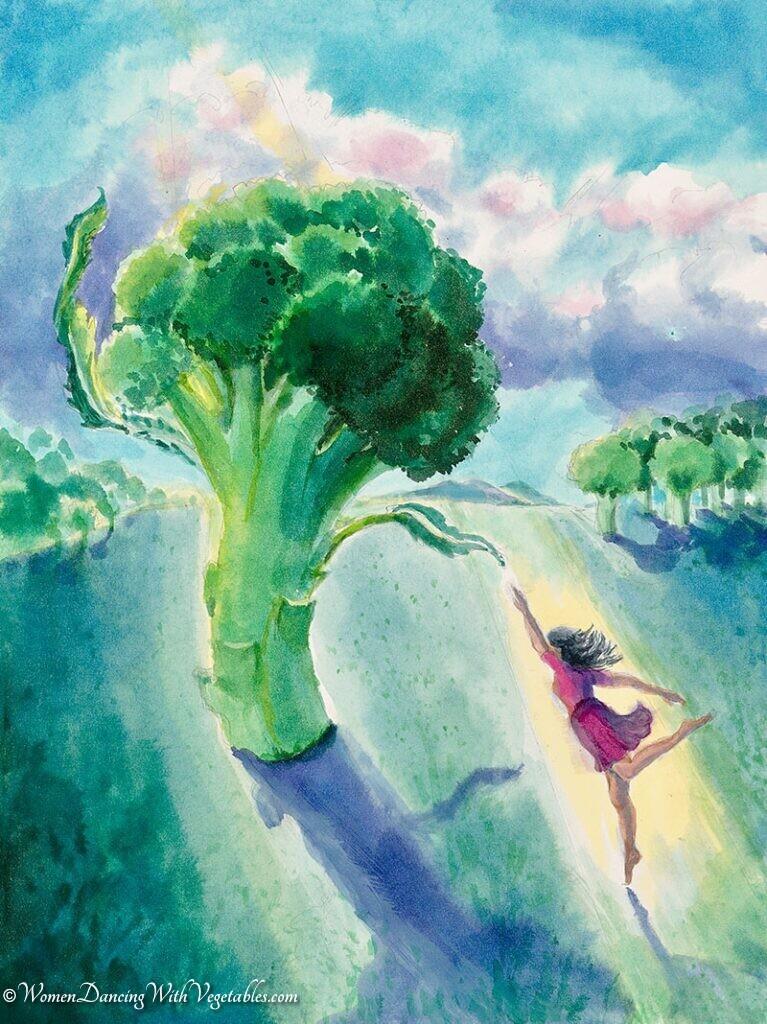"""Broccoli"" by Robin Maynard-Dobbs 9""x 12"" Silk dye on watercolor paper © 2018 Robin Maynard-Dobbs"