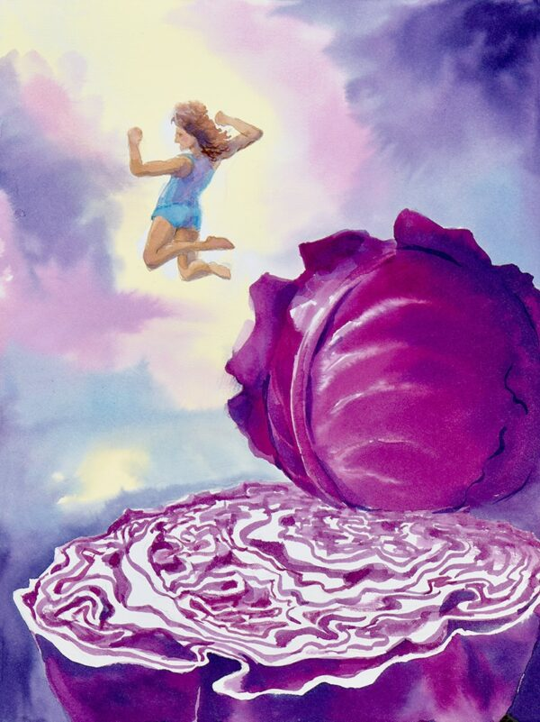 """Cabbage"" by Robin Maynard-Dobbs 9""x 12"" Silk dye on watercolor paper © 2018 Robin Maynard-Dobbs"