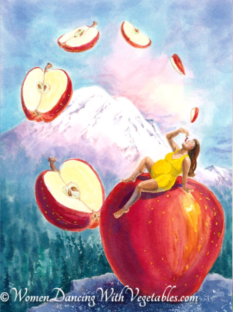 """Apple"" by Robin Maynard-Dobbs 9""x 12"" Silk dye on watercolor paper © 2020 Robin Maynard-Dobbs"