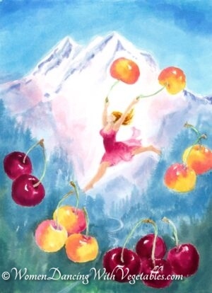 """Cherries"" by Robin Maynard-Dobbs 9""x 12"" Silk dye on watercolor paper © 2020 Robin Maynard-Dobbs"