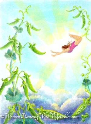 """Snap peas"" by Robin Maynard-Dobbs 9""x 12"" Silk dye on watercolor paper © 2020 Robin Maynard-Dobbs"