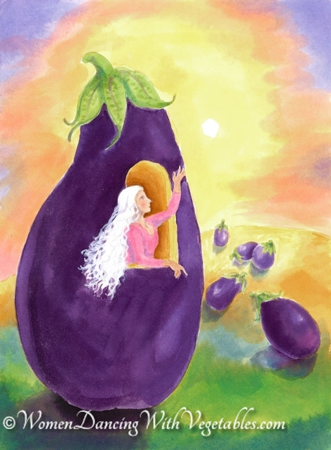 """Eggplant"" by Robin Maynard-Dobbs 9""x 12"" Silk dye on watercolor paper © 2020 Robin Maynard-Dobbs"