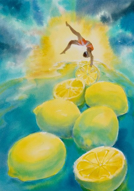 """Lemons"" by Robin Maynard-Dobbs 9""x 12"" Silk dye on watercolor paper © 2018 Robin Maynard-Dobbs"